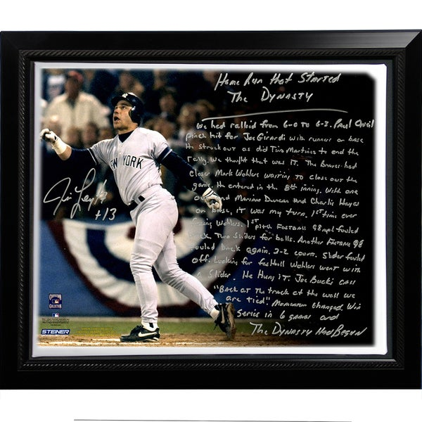 Jim Leyritz Facsimile 'Dynasty Home Run' Story Stretched Framed 22x26 Story Canvas