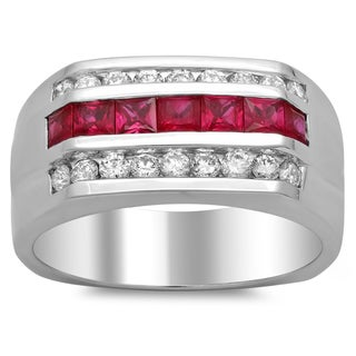14k White Gold Men's 4/5 ct TDW Diamond and 1 1/3 ct Ruby Ring (F-G, SI1-SI2)