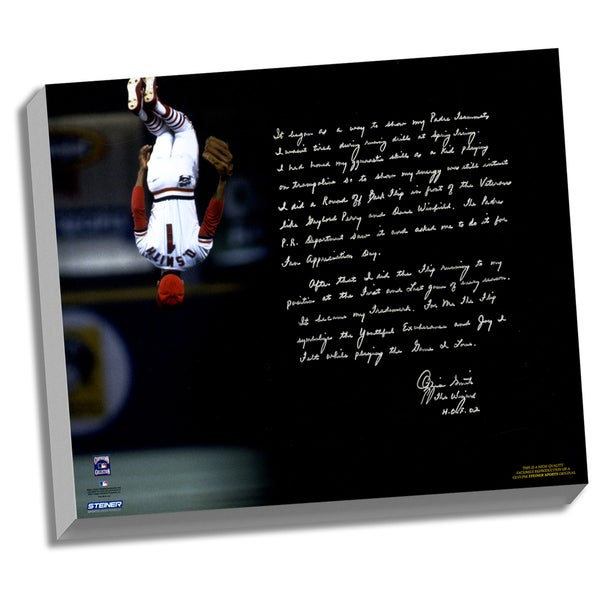 Ozzie Smith Facsimile 'Flip' Stretched 22x26 Story Canvas