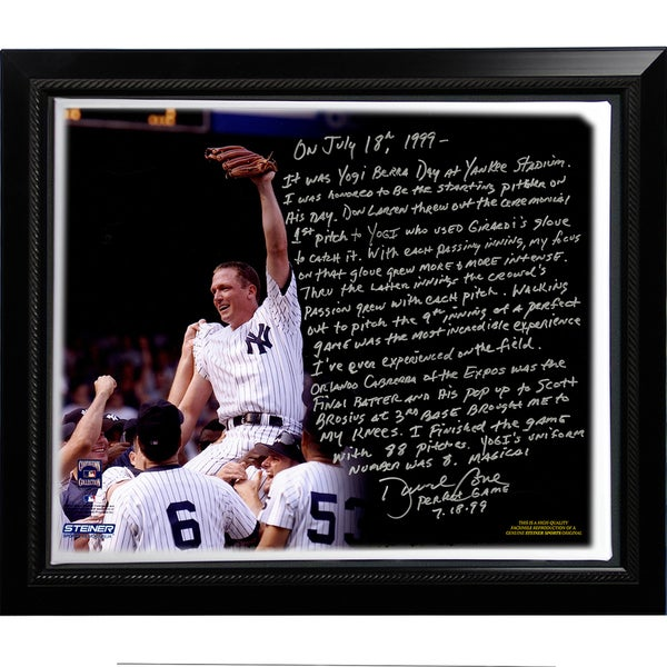David Cone Facsimile 'Yogi Berra Day Perfect Game' Framed Stretched 22x26 Story Canvas