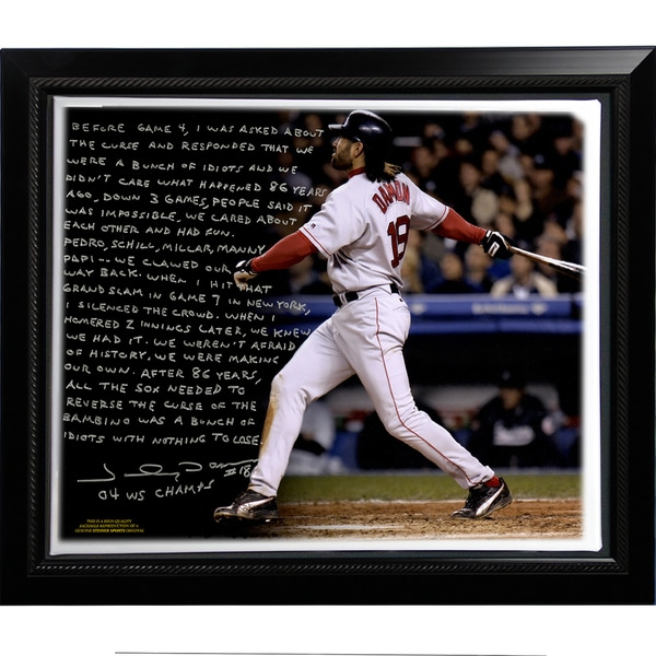 Johnny Damon Facsimile 'Reverse the Curse' Story Stretched Framed 22x26 Canvas