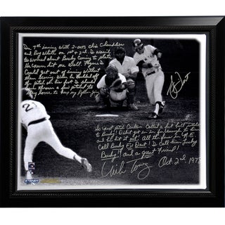 Bucky Dent & Mike Torrez Facsimile '1978 Walk-Off Home Run' Story Stretched Framed 22x26 Story Canvas