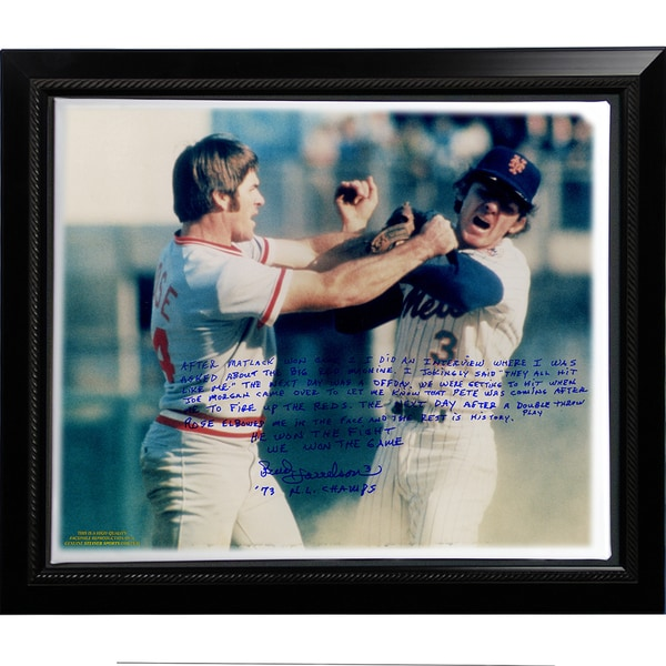 Bud Harrelson Facsimile 'Fighting Rose' Story Stretched Framed 22x26 Story Canvas