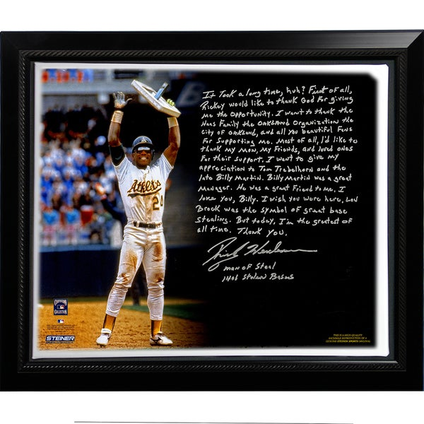Rickey Henderson Facsimile 'Stolen Base Record' Story Stretched Framed 22x26 Canvas