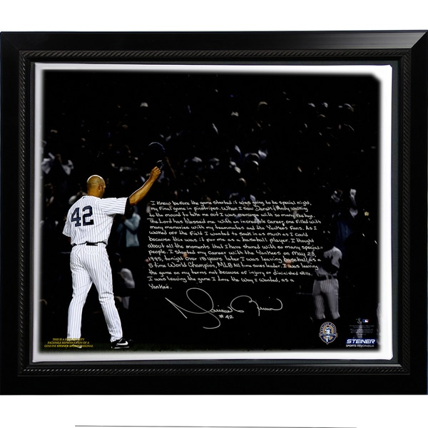 Mariano Rivera Facsimile 'Last Game in Pinstripes' Story Stretched Framed 22x26 Story Canvas