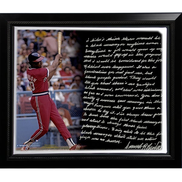 Frank Robinson Facsimile '1st Black Manager' Story Stretched Framed 22x26 Story Canvas