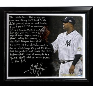CC Sabathia Facsimile 'Winning in New York' Story Stretched Framed 22x26 Canvas