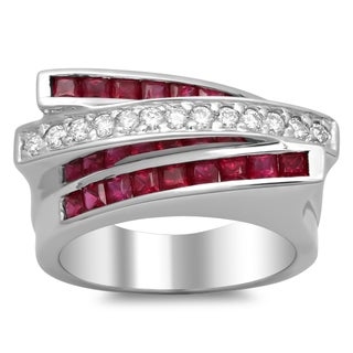 14k White Gold 1/3ct TDW Diamond and 1 2/5ct Ruby Ring (F-G, SI1-SI2)