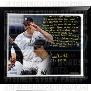 David Wells Facsimile 'Perfect Game' Framed Stretched 22x26 Story Canvas