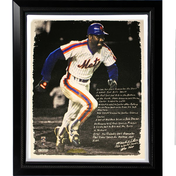 Mookie Wilson Facsimile '86 Buckner Game' Story Stretched Framed 22x26 Story Canvas