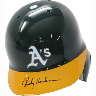 Rickey Henderson Signed Green Athletics Helmet