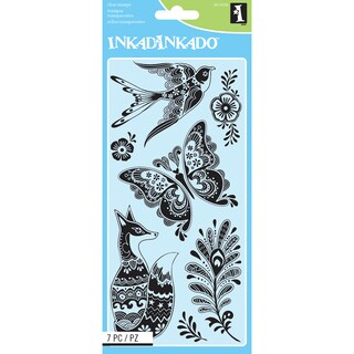 "Inkadinkado Clear Stamps 4""X8"" Sheet-Fancy Fauna"