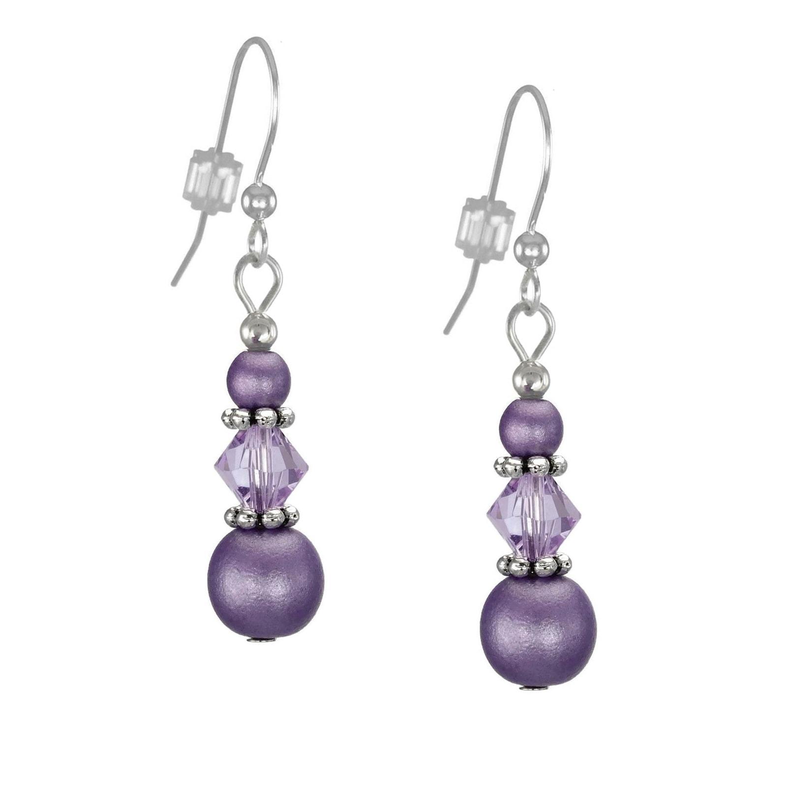 Jewelry by Dawn Triple Bead and Crystal Purple Dangle Ear...