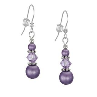 Handmade Jewelry by Dawn Triple Bead and Crystal Purple Dangle Earrings (USA)