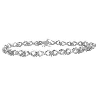 Divina Rhodium over Brass 1/10ct TDW Diamond Bracelet (H-I, I3)