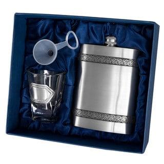 Visol Viking Genuine Pewter Flask Gift Set - 6 ounces