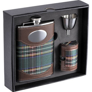 Visol Edinburgh Plaid Cloth Ultimate Flask Gift Set - 8 ounces