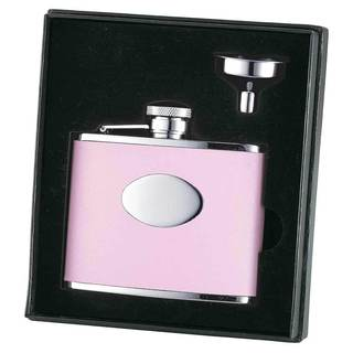 Visol Candy Pink Leather Hip Flask Gift Set - 4 ounces