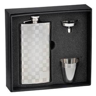 Visol Checkered Stainless Steel Slim Liquor Flask Gift Set - 5 ounces