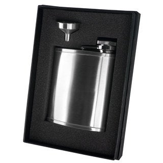Visol Bass Satin Finish Stainless Steel Wide-mouth Flask Gift Set - 7 ounces