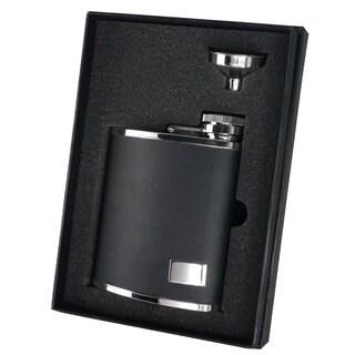 Visol Zen Black Leather Liquor Flask Gift Set - 7 ounces