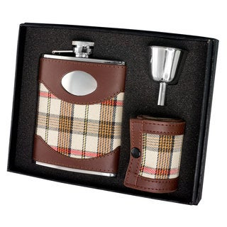 Visol Braw Plaid and Brown Leather Flask Gift Set - 6 ounces