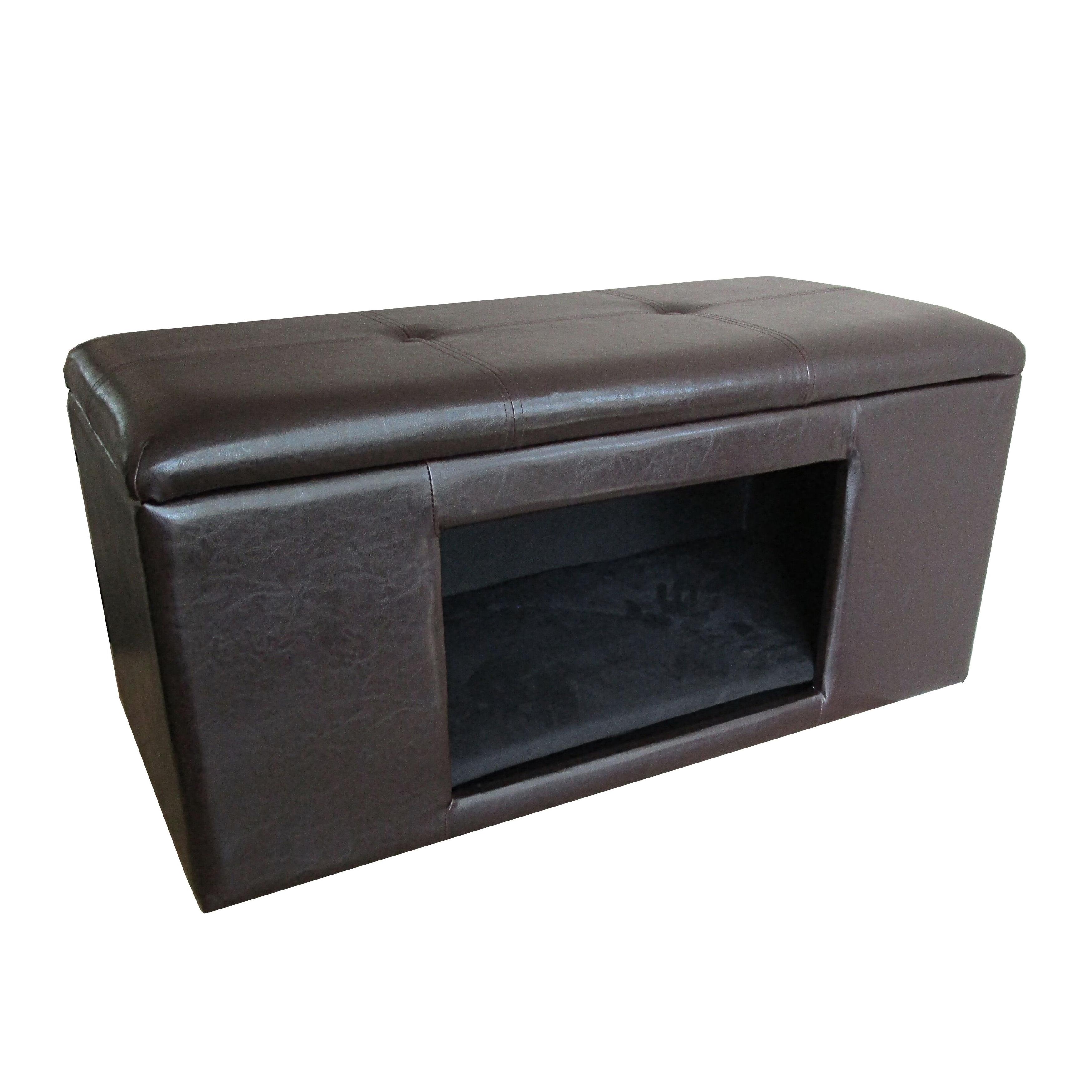 HomePop Comfy Hidden Pet Bed Ottoman Bench (Brown faux le...