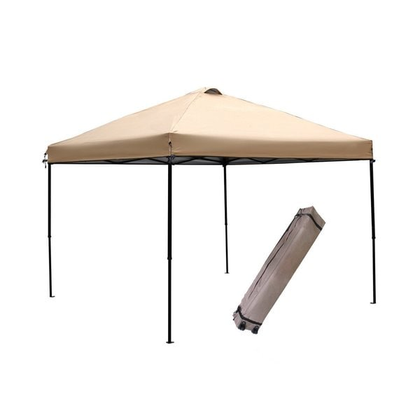 Abba Patio Khaki 10x10 Foot Outdoor Portable Pop Up Canopy Tent With Roller  Bag