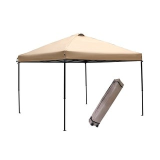 Abba Patio Khaki 10x10-Foot Outdoor Portable Pop-Up Canopy Tent with Roller Bag