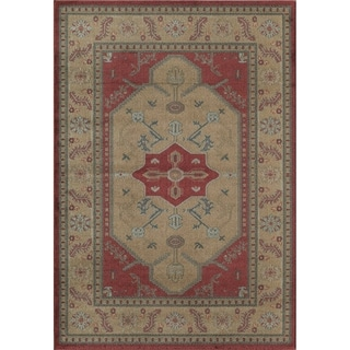 Treasures Gold and Red Traditional Bordered Area Rug (5' x 8')