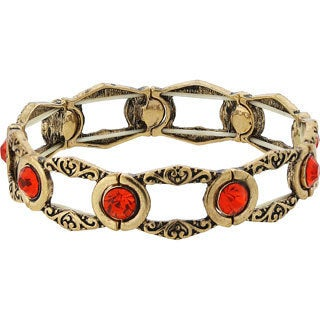 1928 Jewelry Exotic Goldtone Orange Tangerine Stone Stretch Bracelet