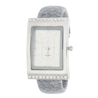 Xtreme Via Nova Women's Cubic Zirconia Silvertone Case Grey Cuff Watch
