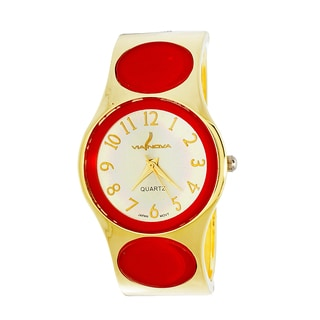 Xtreme Via Nova Women's Goldtone Red Dot Bangle Cuff Watch