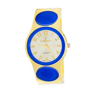 Xtreme Via Nova Women's Goldtone Blue Dot Bangle Cuff Watch