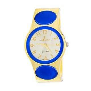 Xtreme Via Nova Women's Goldtone Blue Dot Bangle Cuff Watch
