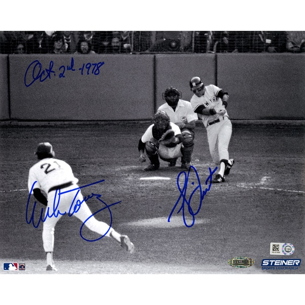 "Bucky Dent/ Mike Torrez Dual Signed 1978 Home Run 8x10 Photo w/ ""Oct-2-1978"" insc by Torrez (MLB Auth)"