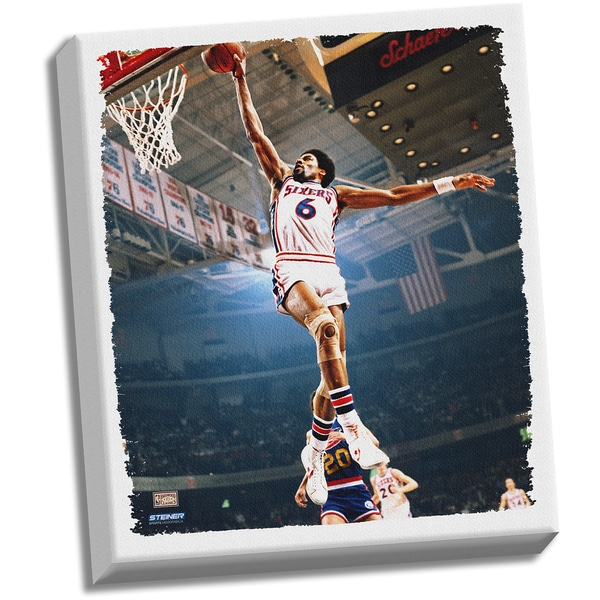 Julius Erving Dr J Dunk Stretched 22x26 Canvas Uns