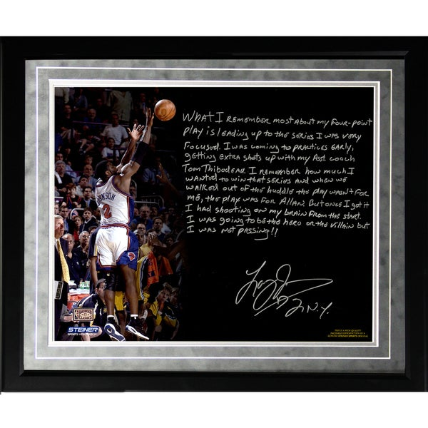 Larry Johnson Facsimile '4 Point Play' Framed Metallic 16x20 Story Photo