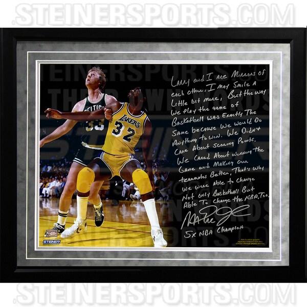 Magic Johnson Facsimile 'My Friend Larry Bird' Framed Metallic 16x20 Story Photo