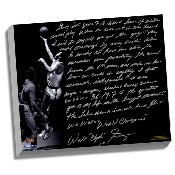 Walt Frazier Facsimile 'The Willis Reed Game' Stretched 22x26 Story Canvas