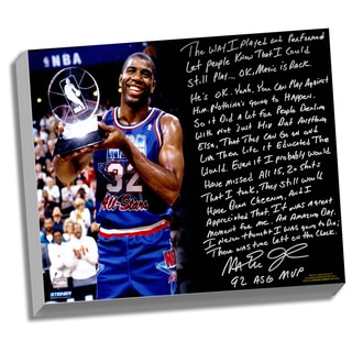 Magic Johnson Facsimile 'First Game Back' Stretched 22x26 Story Canvas