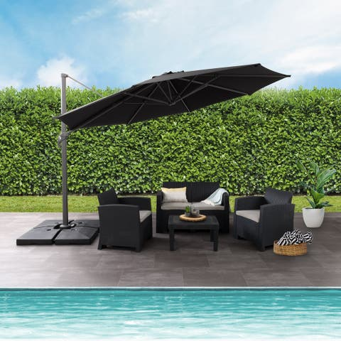 CorLiving 11.5ft UV Resistant Deluxe Offset Patio Umbrella