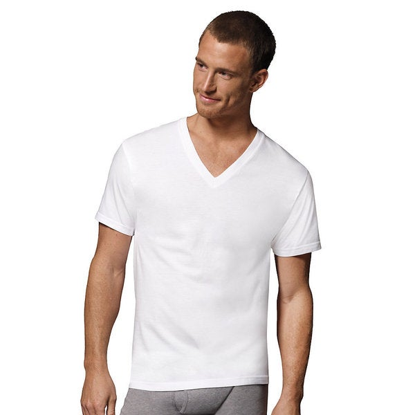 36e1417aa257 Shop Hanes Men's Tagless V-Neck Undershirt (Pack of 6) - Free Shipping On  Orders Over $45 - Overstock - 10035582
