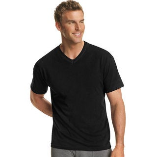 Hanes Men's Dyed ComfortSoft Tagless V-Neck Undershirt (Pack of 4)