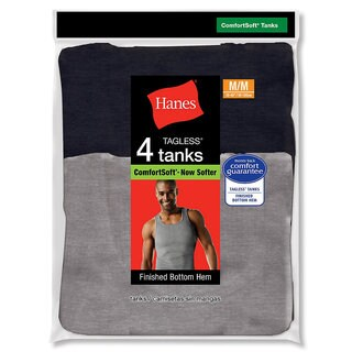 Hanes Men's Tagless Ribbed A-Shirt (Pack of 4)