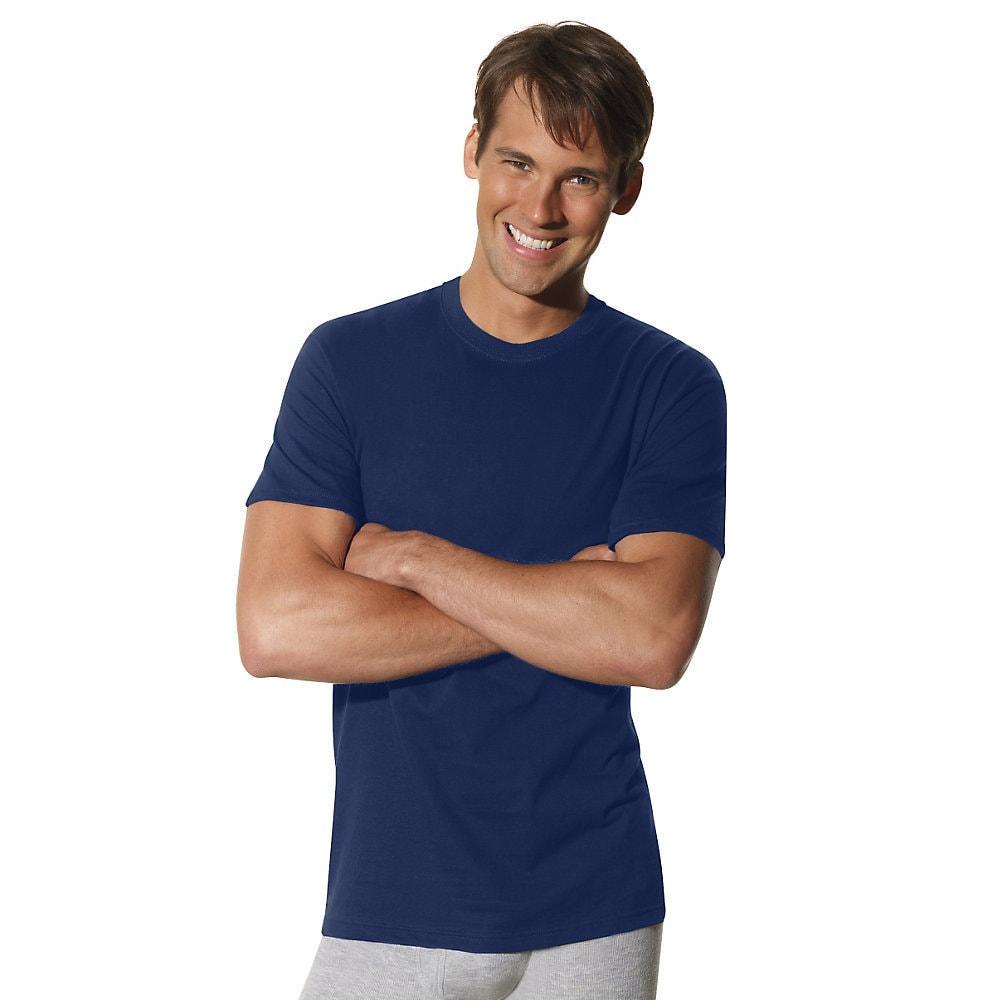 Hanes Men/'s ComfortSoft Dyed TAGLESS Crewneck Undershirt 4-Pack