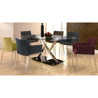 Mcguire Upholstered Dining Chairs with Chrome Legs (Set of 2)