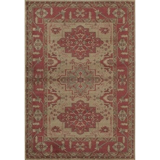 Treasures Tan and Red Traditional Bordered Area Rug (8' x 11')