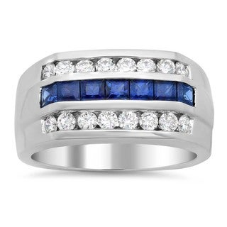 14k White Gold Men's Diamond and Sapphire Ring (F-G, SI1-SI2)