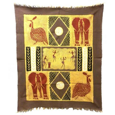 Handmade Grey/ Red Dancers and Animals Batik (Zimbabwe)